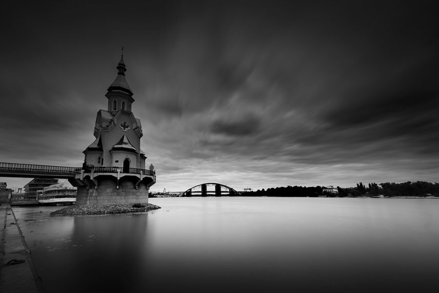 Ukraine, Kiev, Dnipro,St. Nicolas Wondermaker on The Water Church, 2017, Neutral Density Filter