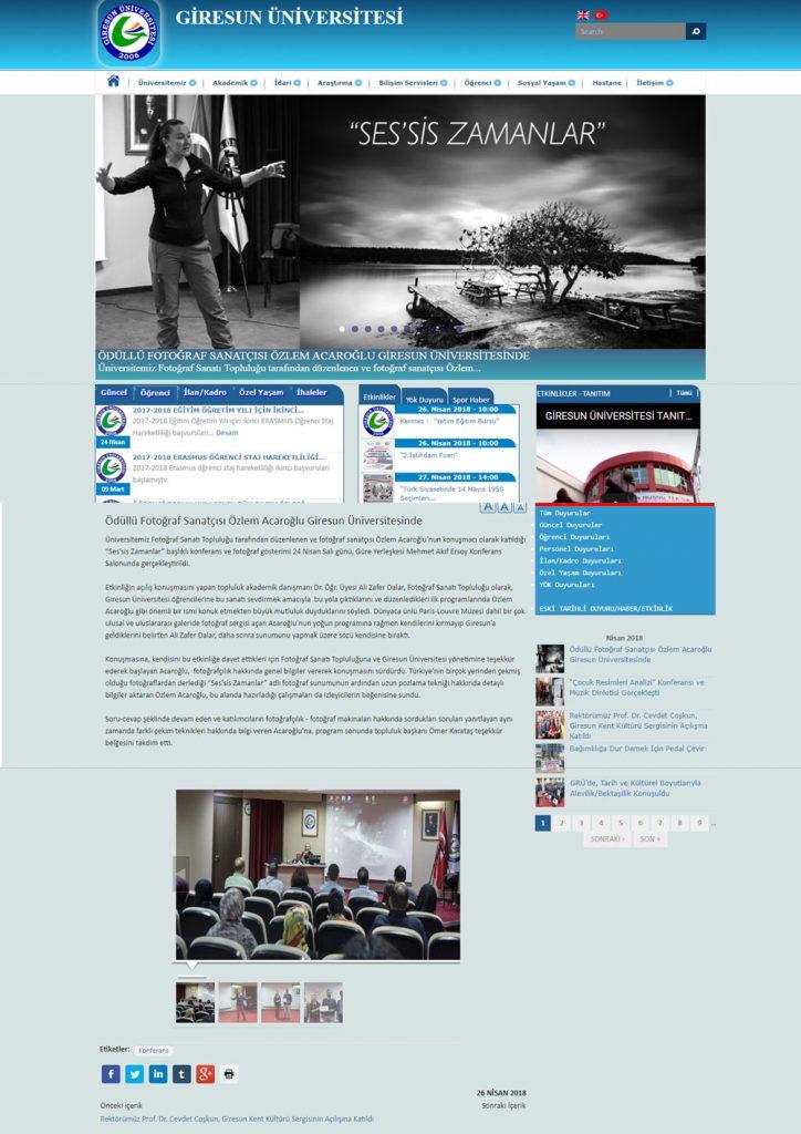 Giresun Üniversitesi - Ses'sis Zamanlar Fotoğraf Gösterisi